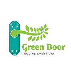 Green door logo design template vector