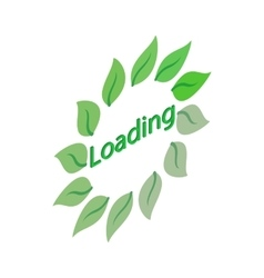 Green leaf loading circle sign icon vector