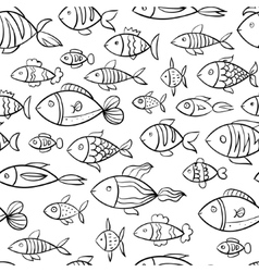 Hand drawn fish pattern vector image