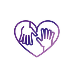 hands love heart charity help donation vector image