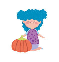 happy thanksgiving day cute little girl blue hair vector image