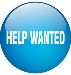 Help wanted blue round gel isolated push button vector