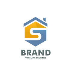hexagon letter s house logo vector image