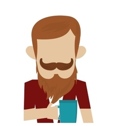 hipster man with beard and mustache vector image