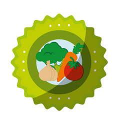 isolated vegetables round icon vector image