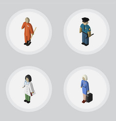 isometric person set of hostess doctor cleaner vector image