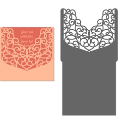 Laser cut envelope template for invitation wedding vector image vector image