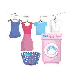 Laundry with electrical equipment and domestic job vector