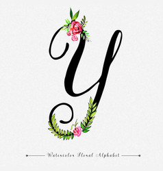 Letter y watercolor floral background vector