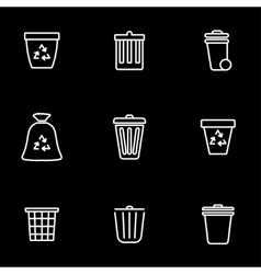 line trash can icon set vector image