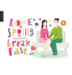 love spring breakfast lettering composition vector image