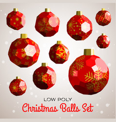 Low poly merry christmas balls with 3d solids vector