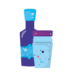 Magic potion bottle with glass vector