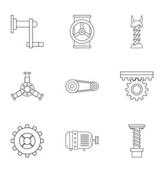 mechanical gear icon set outline style vector image