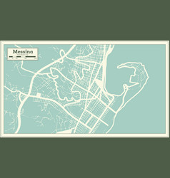 messina italy city map in retro style outline map vector image