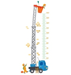 Meter wall with two funny workers and machine-lift vector