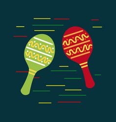 Mexican red and green maracas music folklore vector