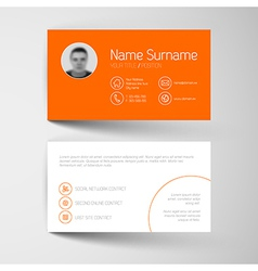Modern orange business card template with flat vector image