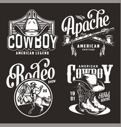 monochrome vintage wild west prints vector image
