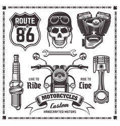 Motorcycles and bikers black elements vector