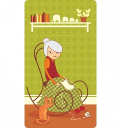old lady knitting vector image