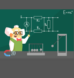old physicist scientist character professor vector image