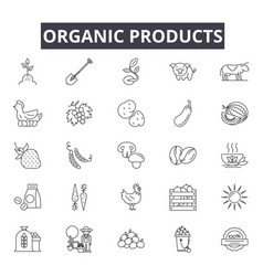 organic products line icons signs set vector image