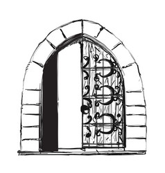 Outlined pair of open doors surrounded by ornate vector