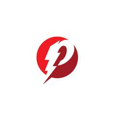 p letter lightning logo template vector image