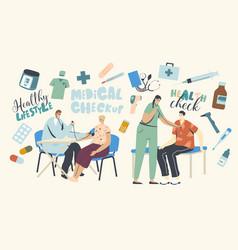 Patients characters at medical checkup woman vector