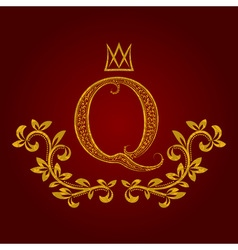 Patterned golden letter Q monogram in vintage vector