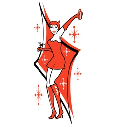 Pin Up Devil vector image