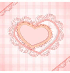 Pink checked background with two hearts vector
