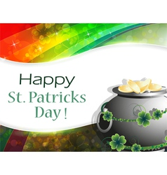 Pot of gold on rainbow background vector image