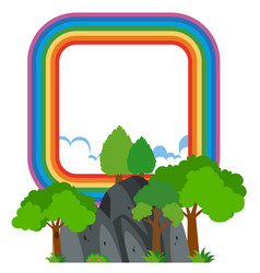 rainbow frame over the mountain vector image