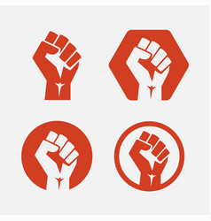 raised fist set red - isolated vector image