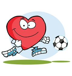 Red Heart Playing With Soccer Ball vector image