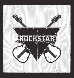 rockstar poster grunge electro guitars with vector image