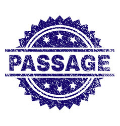 Scratched textured passage stamp seal vector