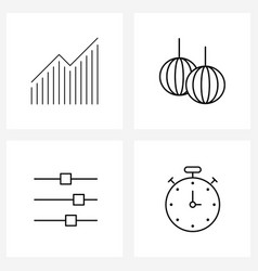 Set 4 line icon signs and symbols give vector