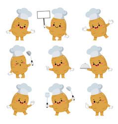 set cute potato chef cartoon characters vector image
