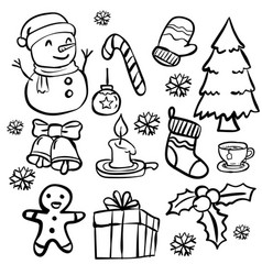 Set of christmas doodle- hand drawn vector