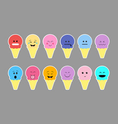 set of ice cream with color cream and different vector image