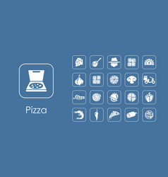 set of pizza simple icons vector image