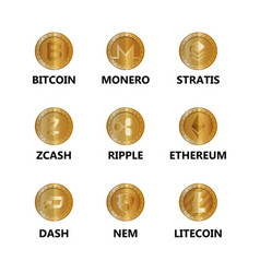 set of virtual coins icons vector image