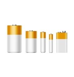 Set white yellow golden alkaline batteries vector