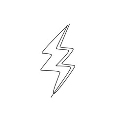 single continuous line drawing thunder light vector image