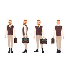 smiling bearded hipster dressed in formal office vector image