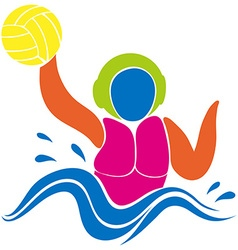 Sport icon design for water polo in colors vector