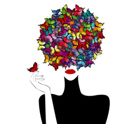 Stylized woman wiith colored butterflies on her vector image